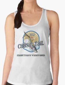 Chasin' Tail - Summer Fun - Martha's Vineyard - Vacation Souvenir T-Shirt - Girl Riding Fish Women's Tank Top