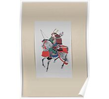 Samurai on horseback wearing armor and horned helmet carrying bow and arrows 001 Poster