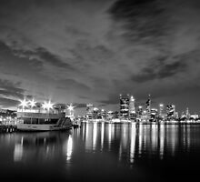 Perth by night, black and white. by Stephen Humpleby