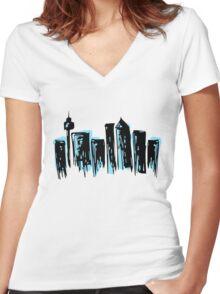 City Skyline Women's Fitted V-Neck T-Shirt