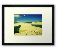 3 Lakes on Yellow Dunes - Jericoacoara, Brazil Framed Print