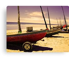 Boats on the Shore at Jericoacoara, Brazil Canvas Print