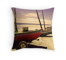 Boats on the Shore at Jericoacoara, Brazil Throw Pillow