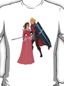 Aerith (Pink) And Cloud - Sleeping Beauty T-Shirt