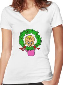 Cindy Lou Wreath Women's Fitted V-Neck T-Shirt
