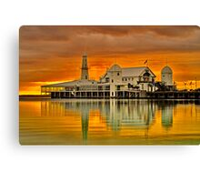 """Golden Dawn At The Pier"" Canvas Print"