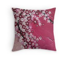 Pink zen cherry blossoms branch with flowers Throw Pillow