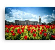 Buckingham Palace and tulips Canvas Print