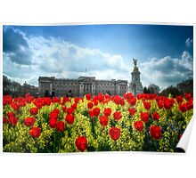 Buckingham Palace and tulips Poster