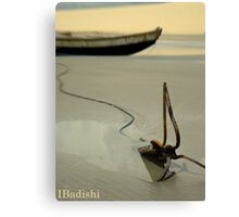 Fish Boat and Anchor on Low Tide  Canvas Print