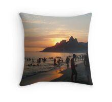 Ipanema Beach at Sunset, Rio de Janeiro, Brazil Throw Pillow