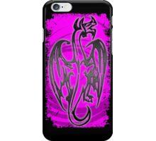 Neon pink black grunge dragon iPhone Case/Skin