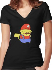 Pikachu/Mario Women's Fitted V-Neck T-Shirt