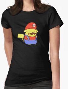 Pikachu/Mario Womens Fitted T-Shirt