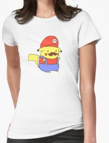 Pikachu/Mario Womens Fitted T-Shirt