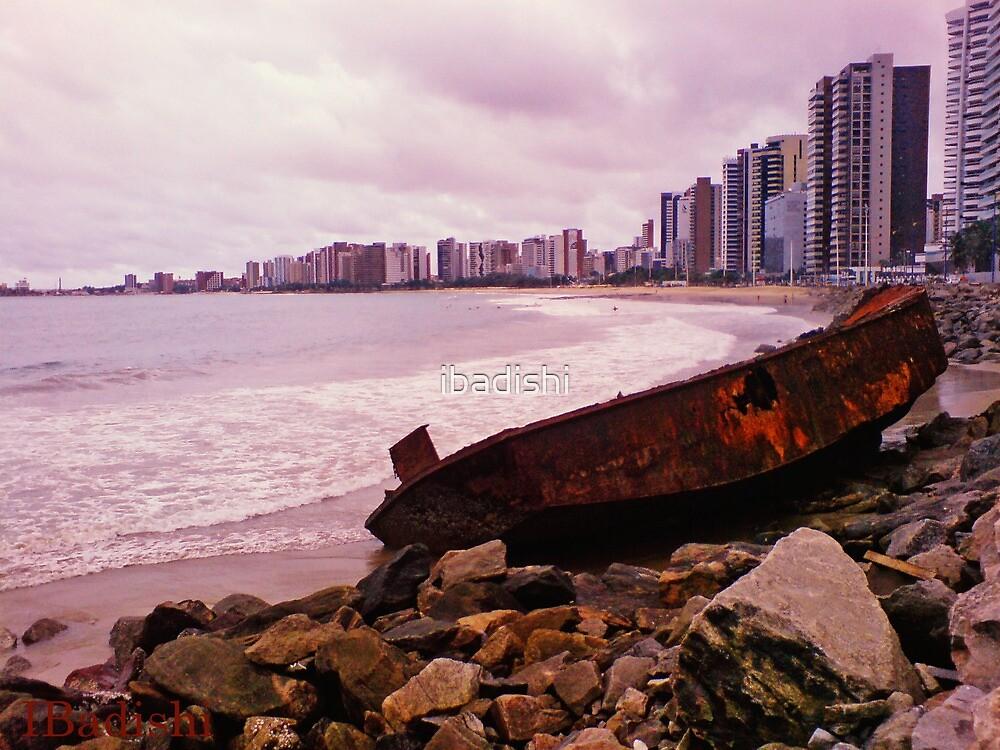 Boat Wreck on the Shore - Fortaleza, Brazil by ibadishi