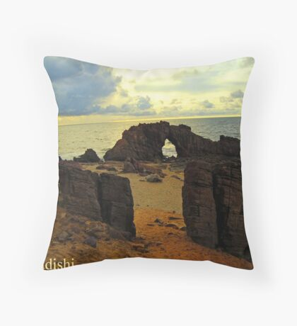 The Drilled Rock in Jericoacoara, Brazil Throw Pillow
