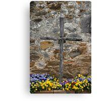 Espada Cross and Pansies Canvas Print