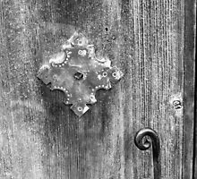 San Juan Door Detail with Latch bw by marybedy