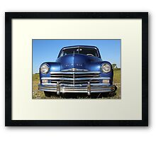 Blue Plymouth Antique Muscle Car Framed Print