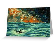 Boat in Rough Seas Greeting Card