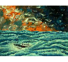 Boat in Rough Seas Photographic Print