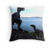 Raptors on the Rocks Throw Pillow