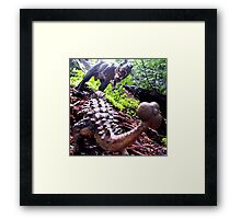 Prehistoric Showdown Framed Print