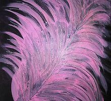 Glittery Pink Sparkly Feather - Acrylic Painting by Janette Oakman