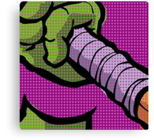 Lichtenstein Pop Martial Art Quelonians | Purple Canvas Print