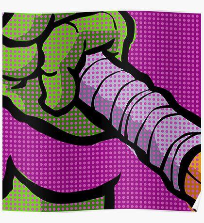 Lichtenstein Pop Martial Art Quelonians | Purple Poster