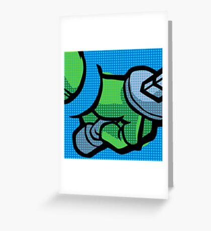 Lichtenstein Pop Martial Art Quelonians | Blue Greeting Card