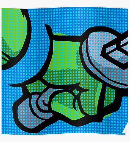 Lichtenstein Pop Martial Art Quelonians | Blue Poster