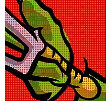 Lichtenstein Pop Martial Art Quelonians | Red Photographic Print