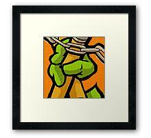 Lichtenstein Pop Martial Art Quelonians | Orange Framed Print