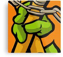 Lichtenstein Pop Martial Art Quelonians | Orange Metal Print