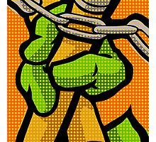 Lichtenstein Pop Martial Art Quelonians | Orange Photographic Print