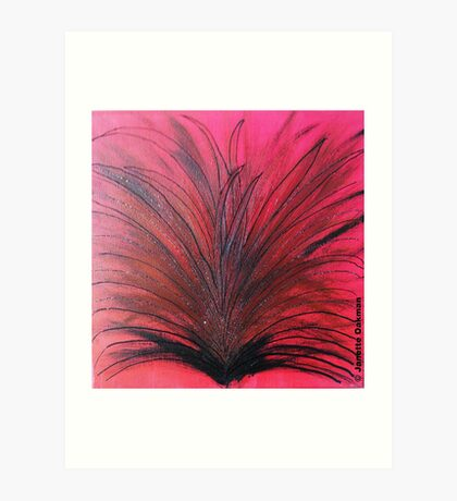Red and Black Sparkly Flower - Acrylic Painting Art Print