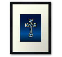 Christian Cross in Gold with Sapphire Stones Framed Print
