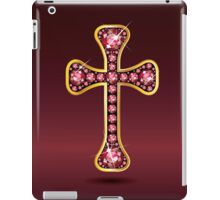 Christian Cross in Silver with Ruby Stones iPad Case/Skin