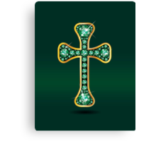 Christian Cross in Gold with Emerald Stones Canvas Print