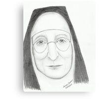 Nun Wearing Glasses - Pencil Portrait Canvas Print