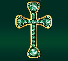 Christian Cross in Gold with Emerald Stones by Stacey Lynn Payne