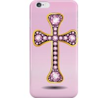 Christian Cross in Gold with Rose Quartz Stones iPhone Case/Skin