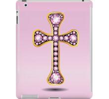 Christian Cross in Gold with Rose Quartz Stones iPad Case/Skin