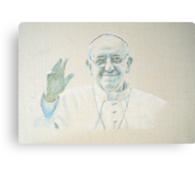 Pope Francis in pastel on calico Canvas Print
