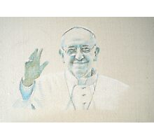 Pope Francis in pastel on calico Photographic Print