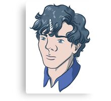 Unicorn Sherlock (Black) Canvas Print
