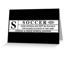 soccer warning label Greeting Card