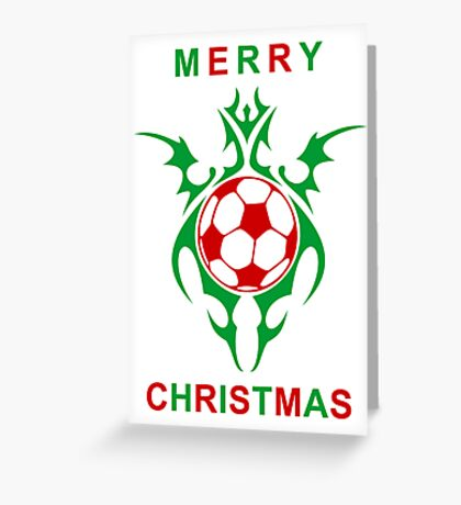 merry christmas soccer ball Greeting Card